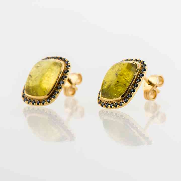 Cercei din aur galben 18 K cu Turmaline și Safire