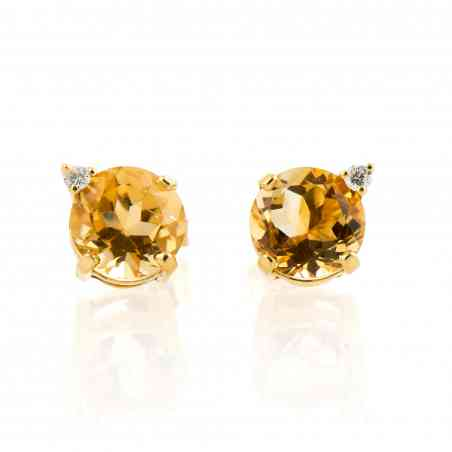 Cercei din aur galben 14K cu Citrin și Diamante