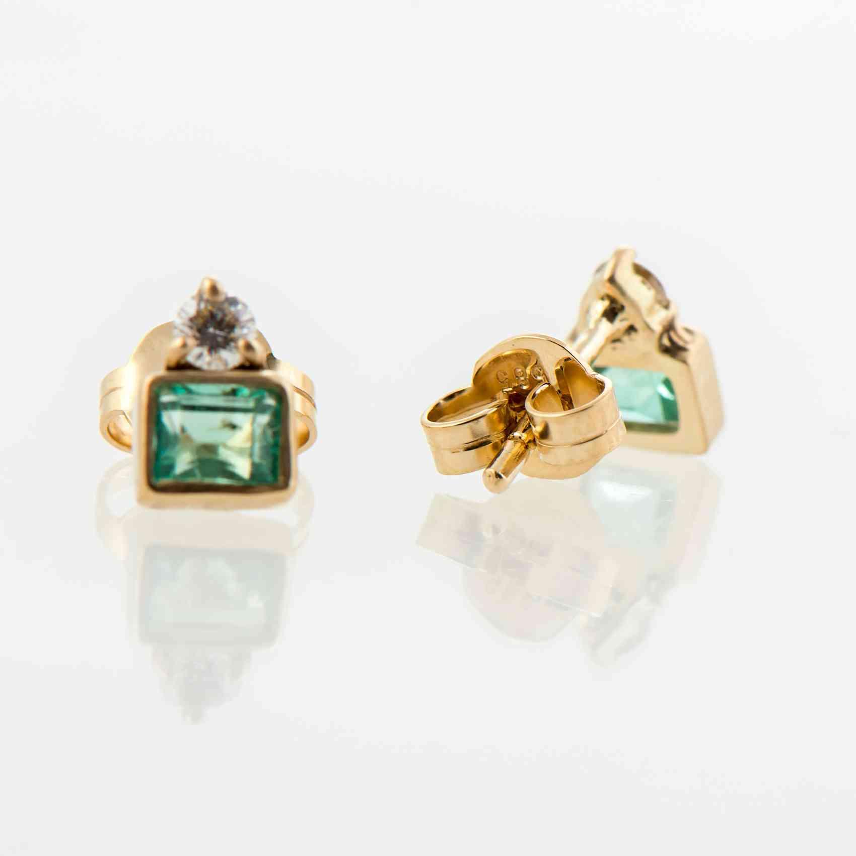 Cercei din aur galben 14K cu smaralde si diamante