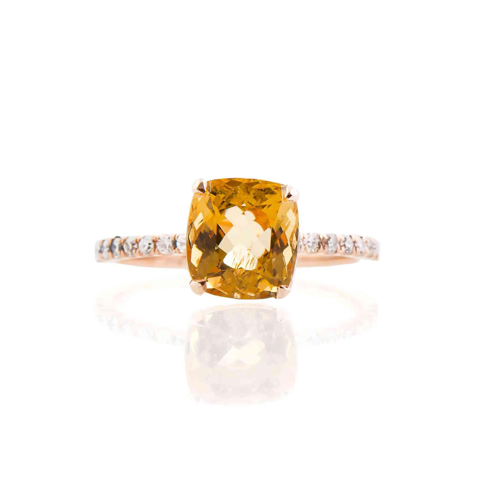 Inel din aur roz 18K cu Heliodor și Diamante