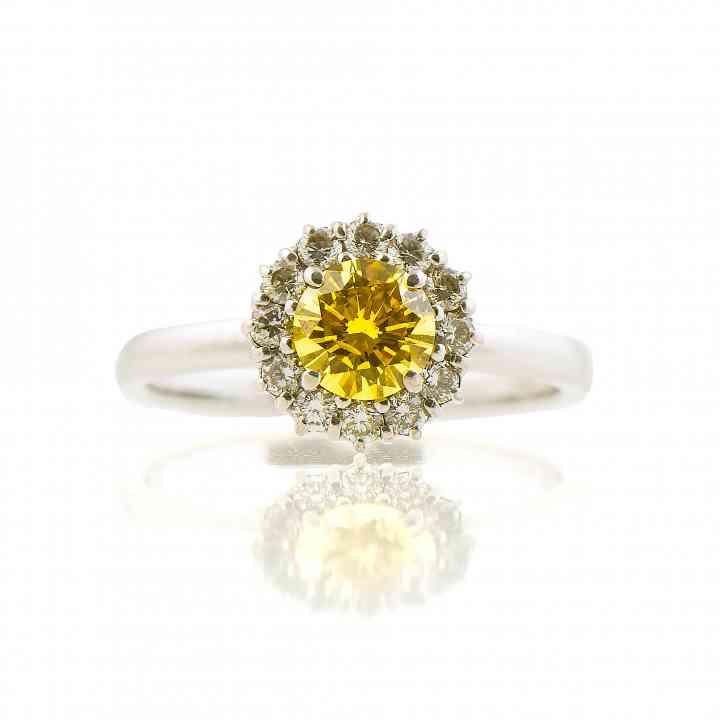 Inel din aur alb 18K cu Diamant Galben