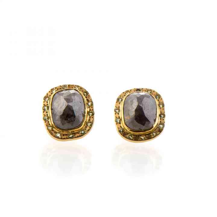 Cercei din aur galben 18K cu Diamante și Peridot