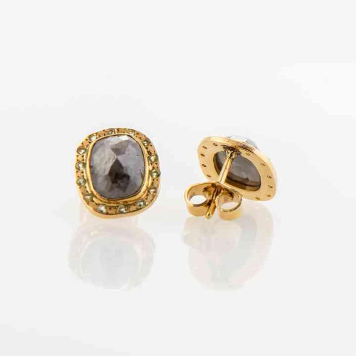 Cercei din aur galben 18K cu Diamante și Period