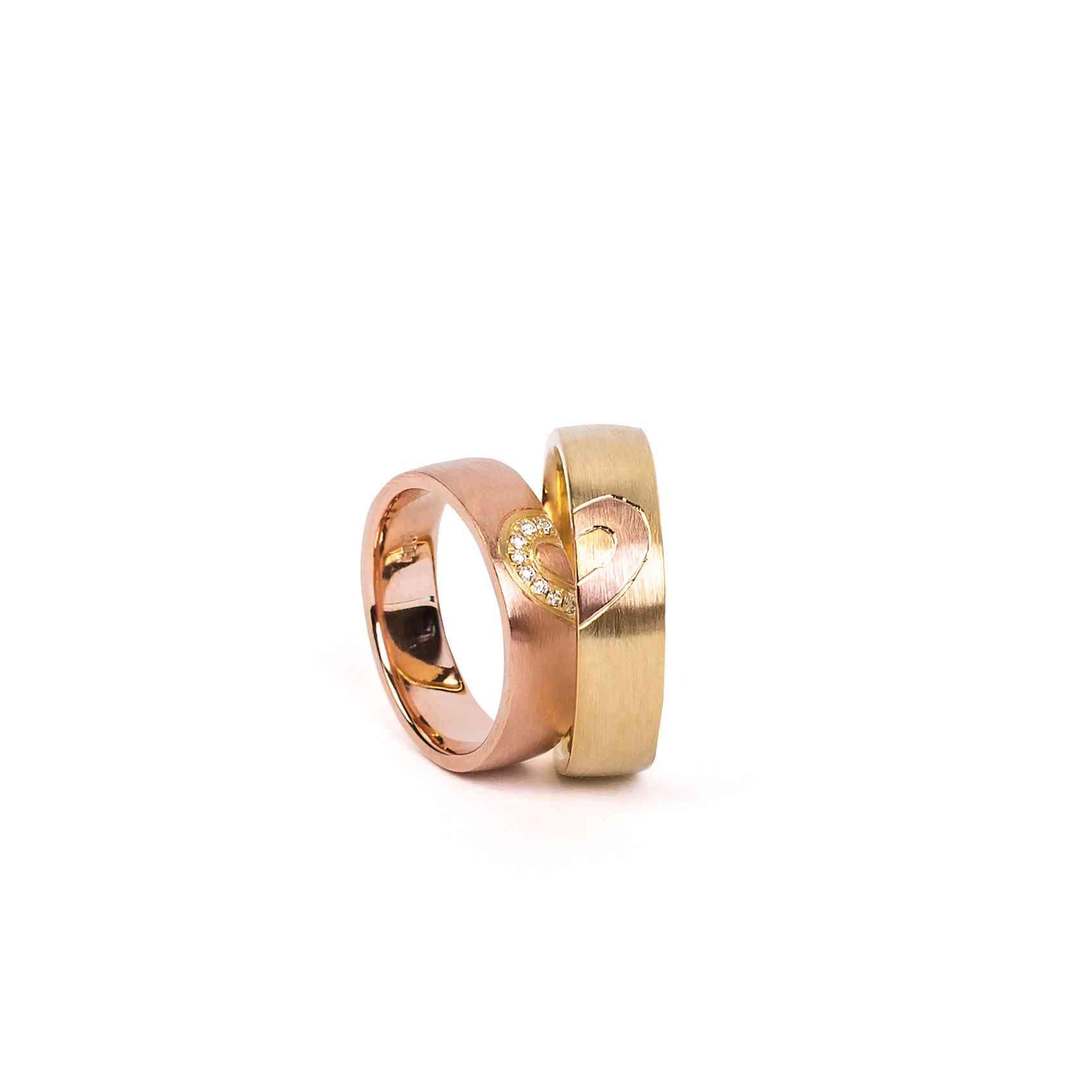 Set Verighete Din Aur Roz Și Galben 14K Cu Diamante