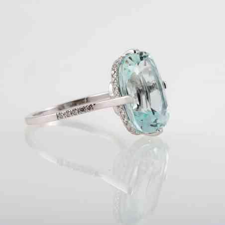 Inel din aur alb 18K cu Aquamarine natural si Diamante