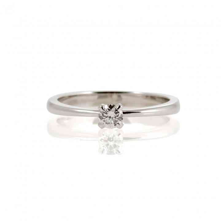 Inel de logodna din aur alb de 14 K cu diamant natural