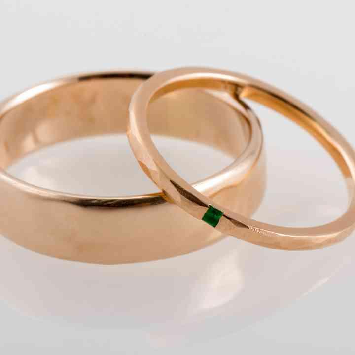 Set verighete din aur roz 14k cu Smarald Natural