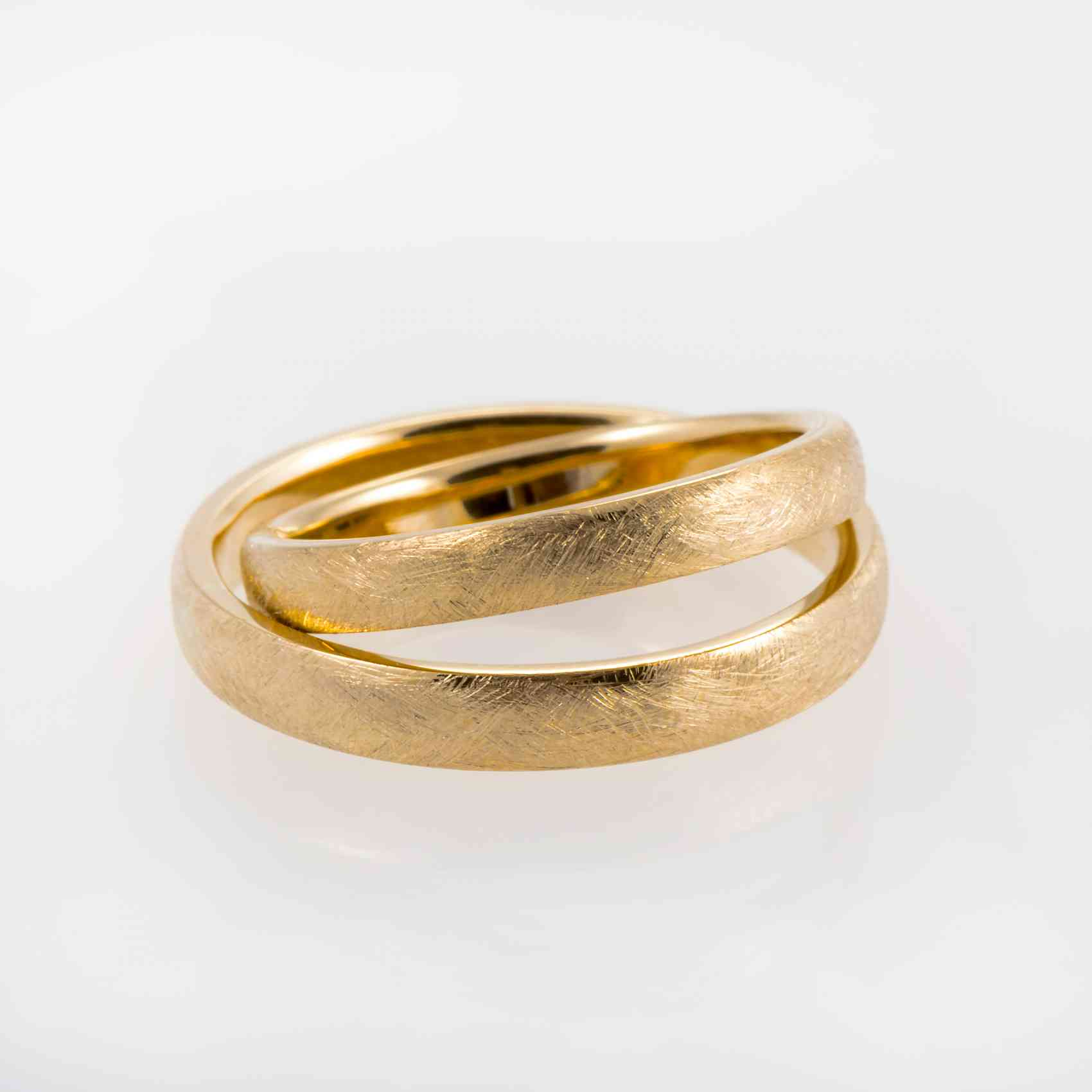 "Set verighete din aur galben 14K model ""Patina"""