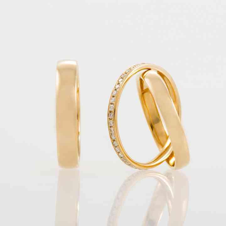 "Set verighete ""Bond"" din aur galben 14K cu Diamante"