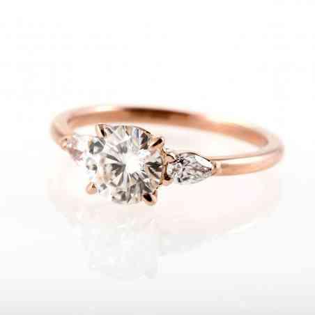 Inel De Logodna Din Aur Roz De 18 K Cu Diamante Naturale