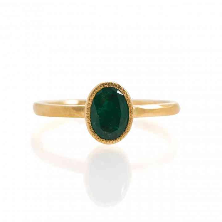 Inel Din Aur Galben De 18K Cu Smarald Natural