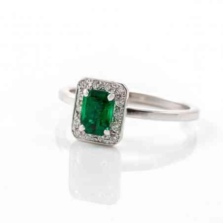 Inel din aur alb 18K cu smaralde si diamante naturale
